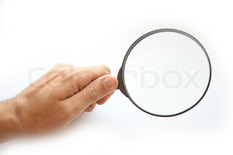Stock image of 'Lens in hand, on a white background.'
