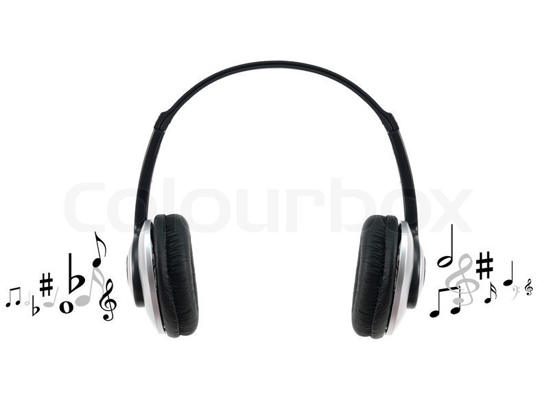 Headphones Music Notes: Music Headphones Isolated Against A White Background