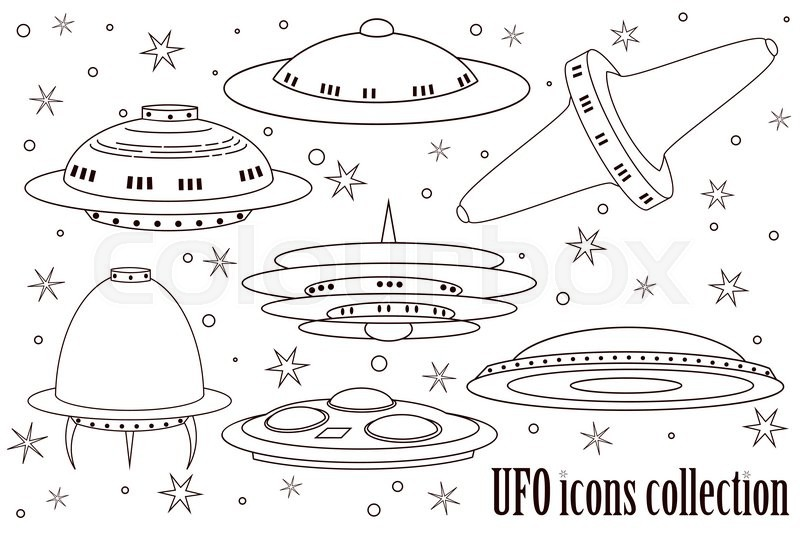 flying saucer coloring page - cute flying saucer spaceship and ufo set illustration of