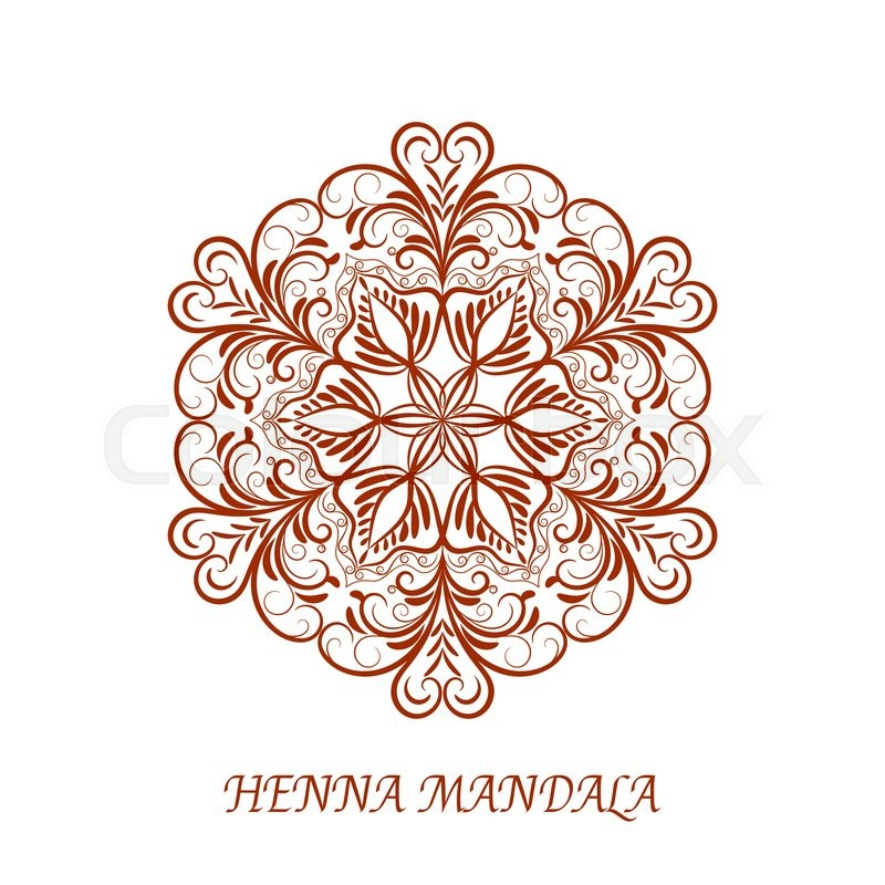 Vector Henna Color Flower Mandala Over White Background Element For Your Designs Invitation Card Yoga Meditation Astrology Mehndy Coloring Book And