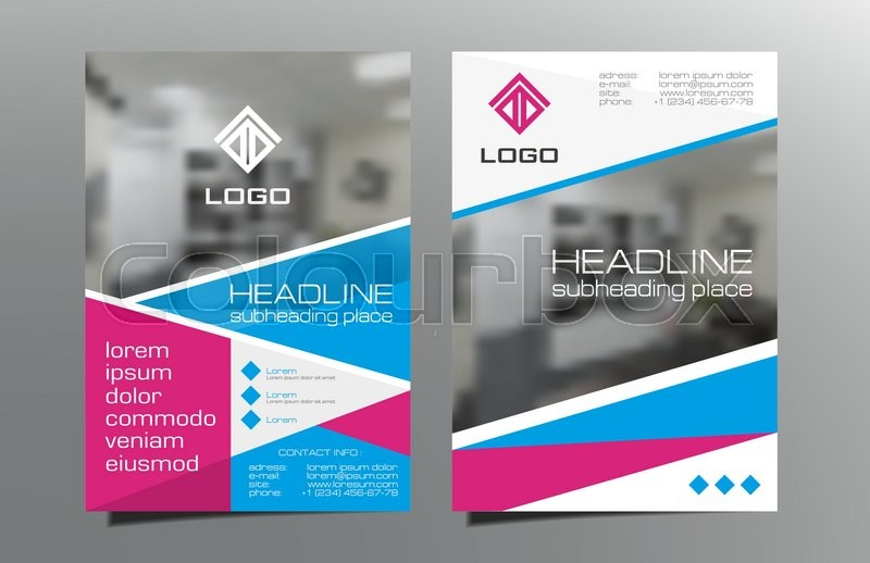 red blue brochure flyer template design vector leaflet cover
