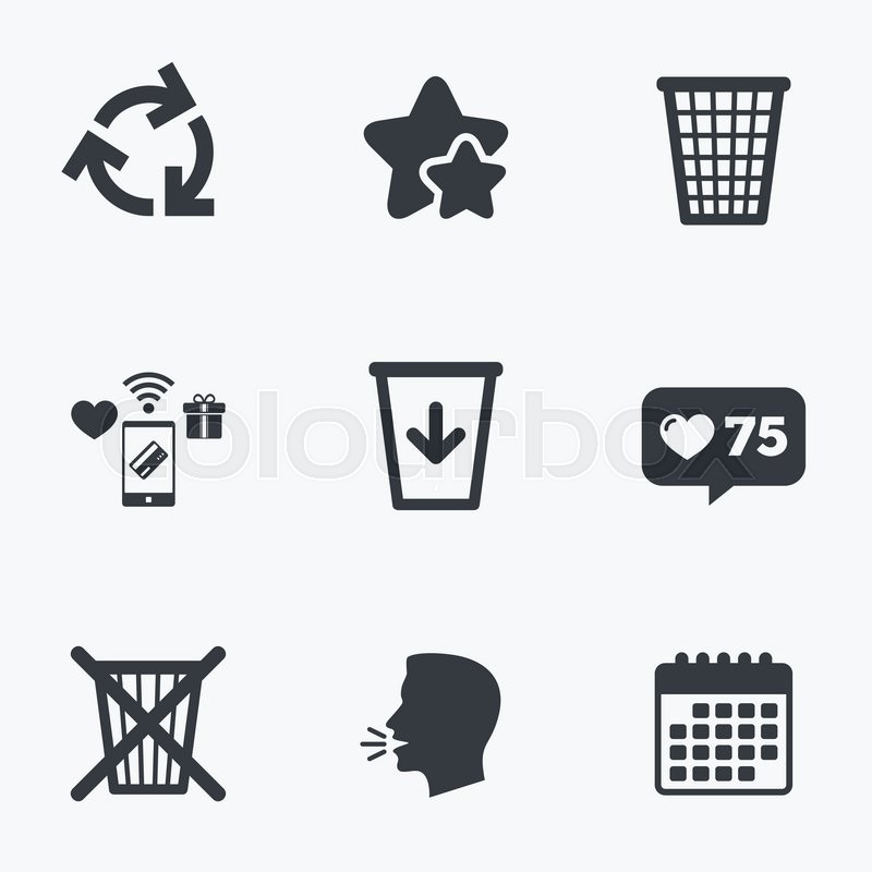 Recycle Bin Icons Reuse Or Reduce Symbols Trash Can And Recycling