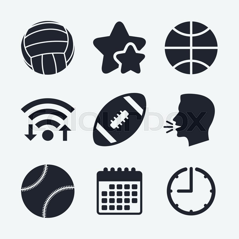 Sport balls icons. Volleyball, Basketball, Baseball and American football signs. Team sport games. Wifi internet, favorite stars, calendar and clock. Talking head. Vector, vector