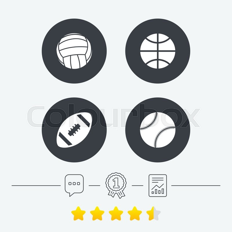 Sport balls icons. Volleyball, Basketball, Baseball and American football signs. Team sport games. Chat, award medal and report linear icons. Star vote ranking. Vector, vector
