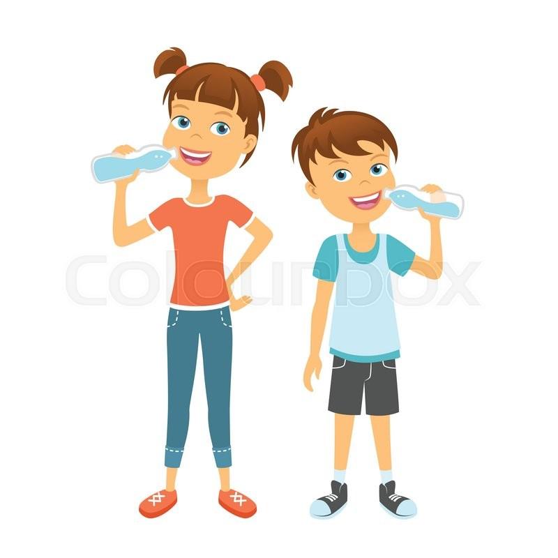 happy children drinking water. kids drink water | stock vector