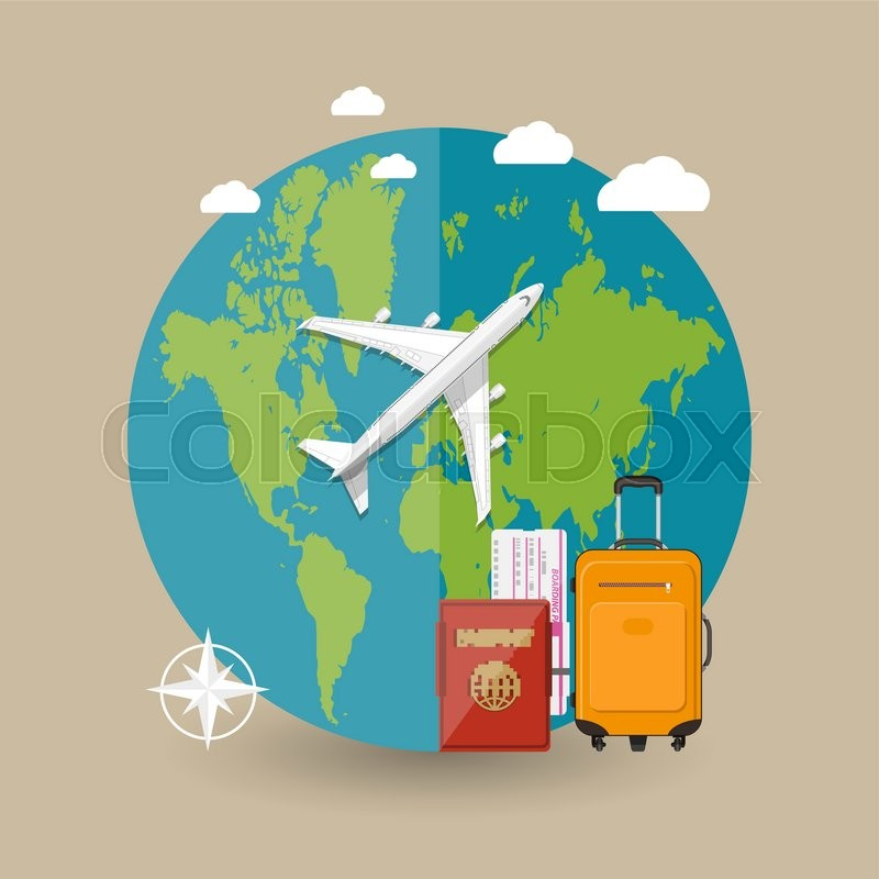Travel concept world map airplane bag boarding pass passport in world map airplane bag boarding pass passport in the sky with clouds on brown background vector illustration in flat design stock vector colourbox gumiabroncs Choice Image