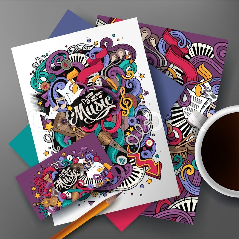 Cartoon cute colorful vector hand drawn doodles musical corporate cartoon cute colorful vector hand drawn doodles musical corporate identity set templates design of business card flyers posters papers on the table reheart Gallery