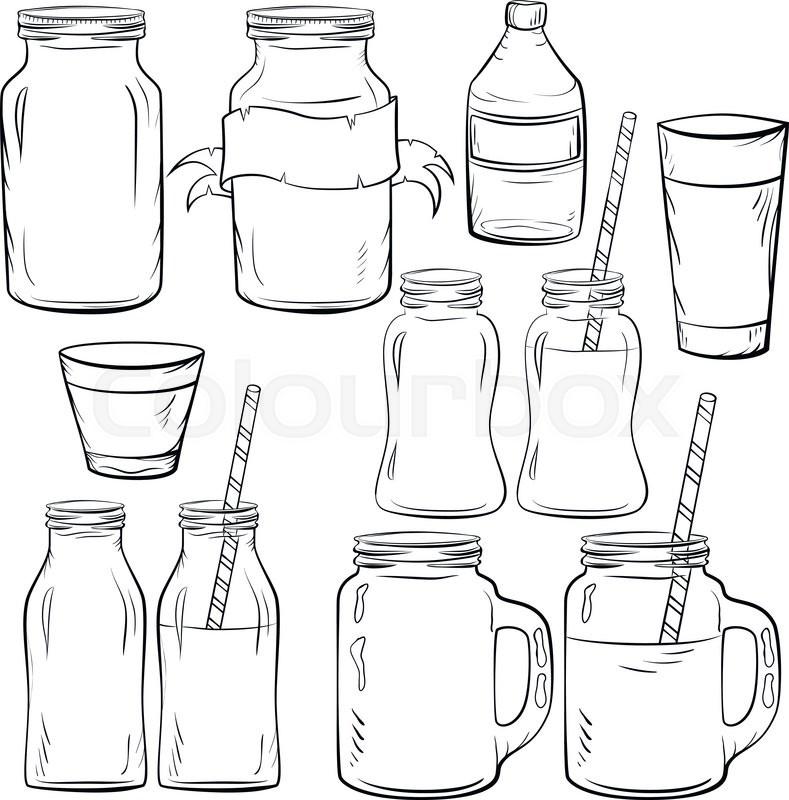 Product Design Line Art : Glass bottles sketches set for smoothie and milk yogurt