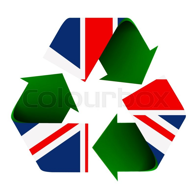 Flag Of The Uk Superimposed On A Recycle Symbol Isolated On A White