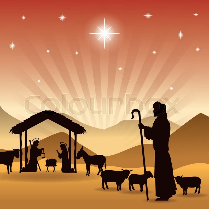 Merry Christmas and holy family concept represented by joseph, maria ...
