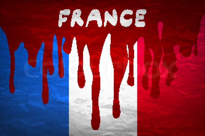 flag france in concept the blood flowing on the french flag vector