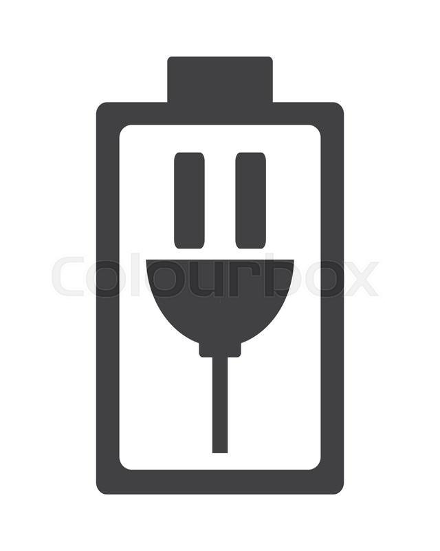 Flat Design Charging Battery Symbol Icon Vector Illustration Stock