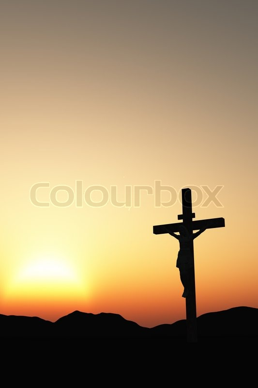 the crucifixion a cross with jesus christ a bible theme stock
