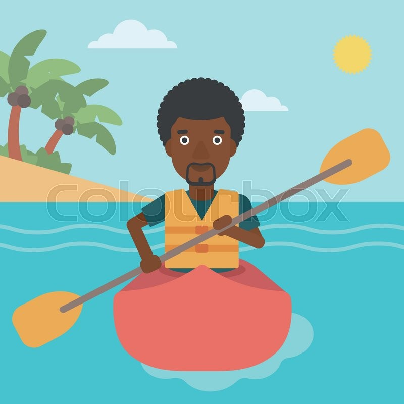 An african-american sportsman riding in a kayak in the sea. Young man traveling by kayak. Male kayaker paddling. Man paddling a canoe. Vector flat design illustration. Square layout, vector