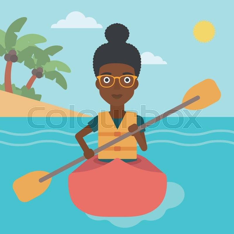An african-american sports woman riding in a kayak in the sea. Young woman traveling by kayak. Female kayaker paddling. Woman paddling a canoe. Vector flat design illustration. Square layout, vector