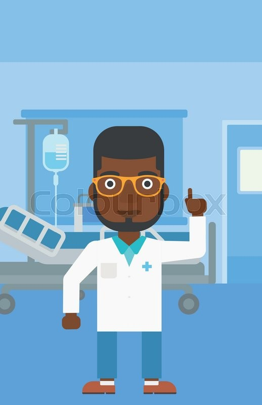 An african-american doctor in medical gown showing finger up while standing on the background of hospital ward. Vector flat design illustration. Vertical layout, vector