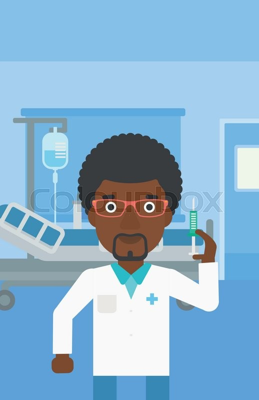 An african-american doctor with the beard holding medical injection syringe on the background of hospital ward. Vector flat design illustration. Vertical layout, vector