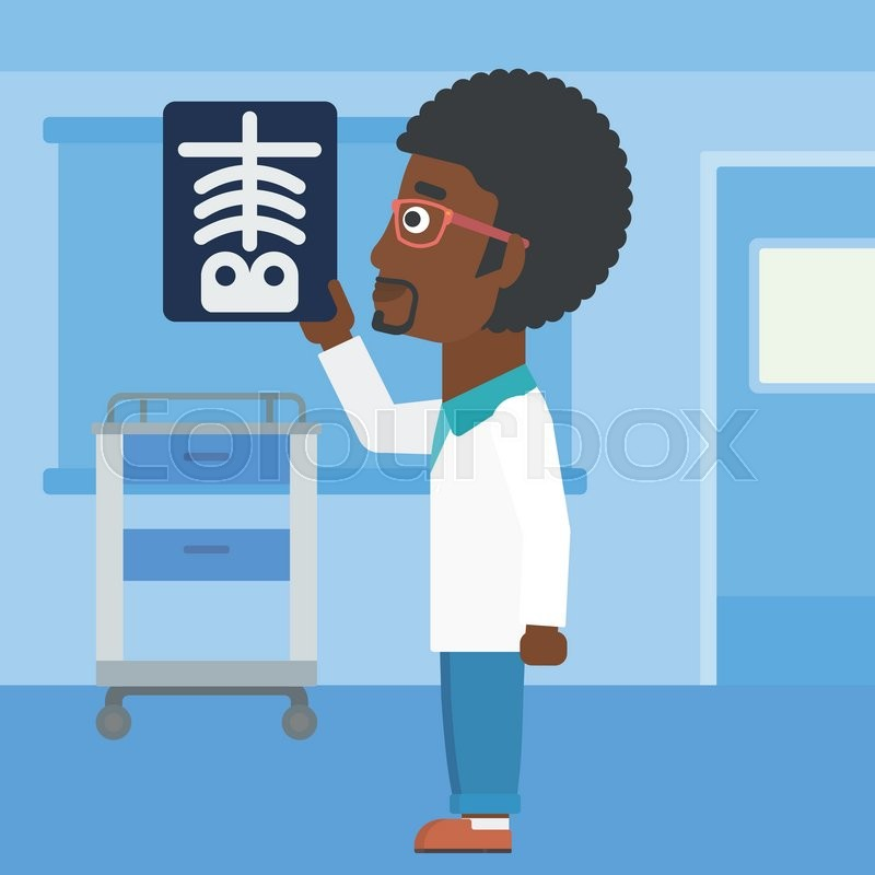 An african-american doctor with the beard looking at a skeleton radiograph in the medical office. Vector flat design illustration. Square layout, vector