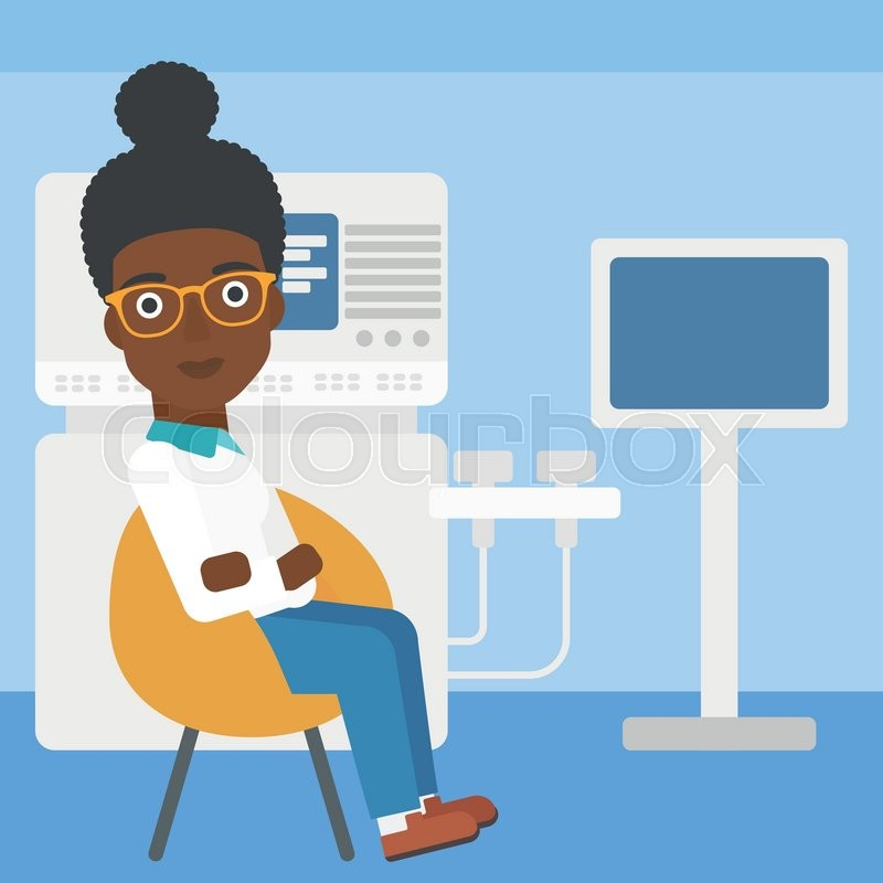 An african-american female ultrasound doctor sitting with arms crossed near modern ultrasound equipment at medical office. Vector flat design illustration. Square layout, vector