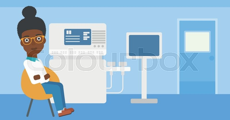 An african-american female ultrasound doctor sitting with arms crossed near modern ultrasound equipment at medical office. Vector flat design illustration. Horizontal layout, vector