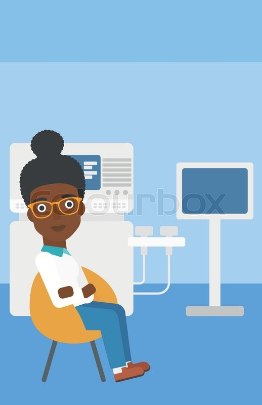 An african-american female ultrasound doctor sitting with arms crossed near modern ultrasound equipment at medical office. Vector flat design illustration. Vertical layout, vector
