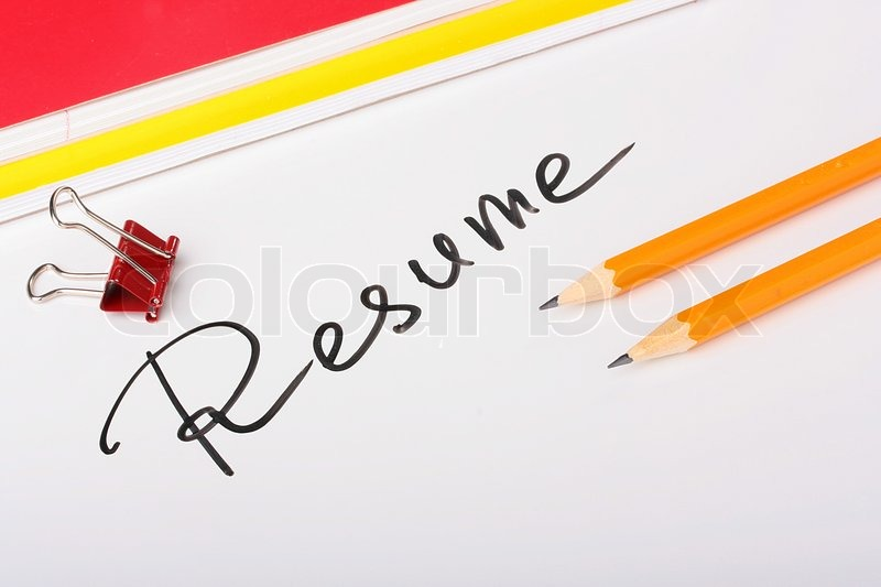 On A White Background An Inscription   Resume With Two Thick Writing Books  And Pencils. | Stock Photo | Colourbox  Resume Background Image
