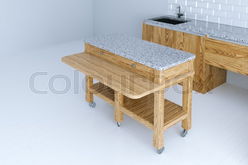 Perfect idea for kitchen interior design with wooden furniture 3d render, stock photo