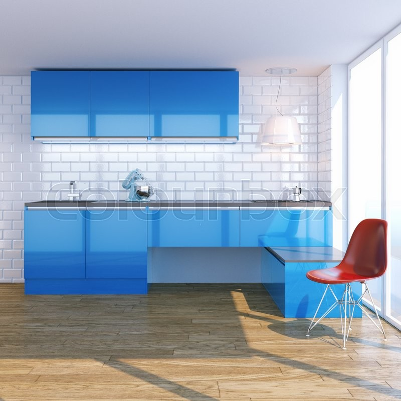 New contemporary blue kitchen furniture in white interior with classic tiles. Sea Beach View in Big Windows, stock photo