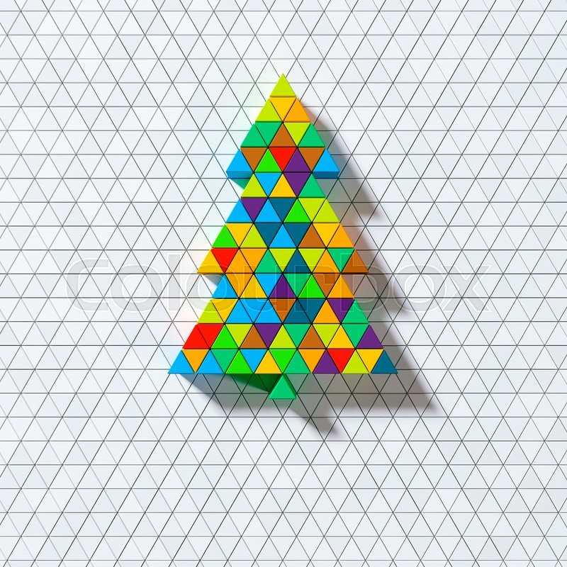 Stock image of 'Color triangle christmas ornament card'