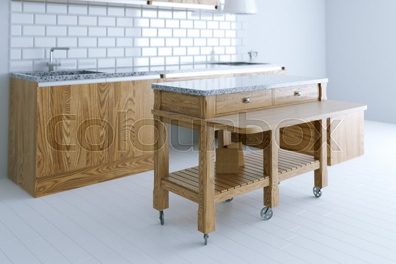 Perfect idea for kitchen interior design with wooden furniture. Perspective view. 3d render, stock photo