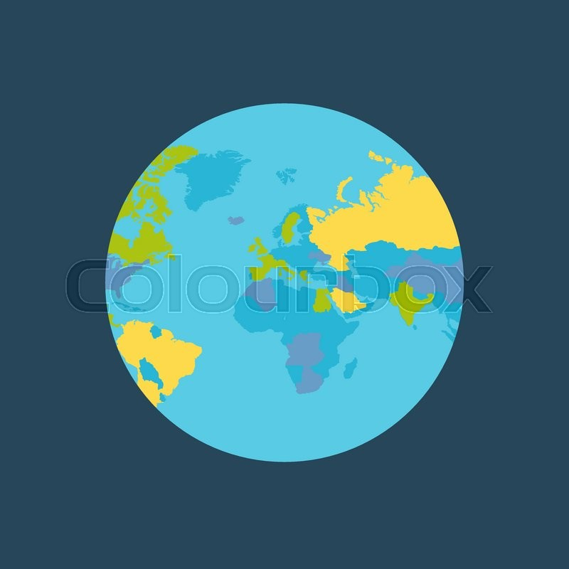 Planet Earth Vector Illustration World Globe With Political Map