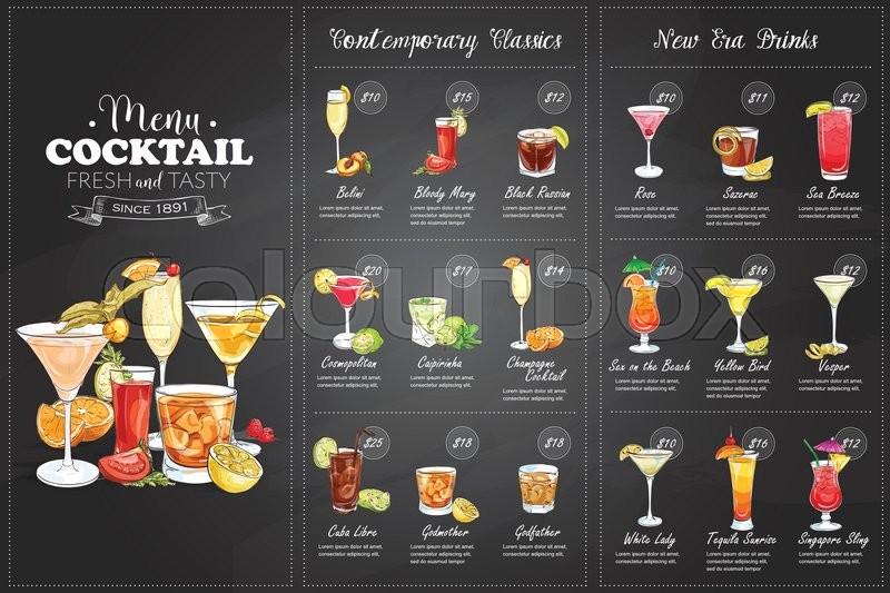 Front Drawing horisontal cocktail menu design on ...