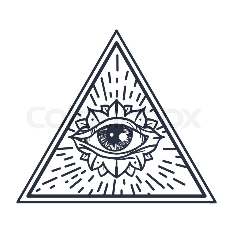 Vintage All Seeing Eye in Triangle. Providence magic symbol for ...