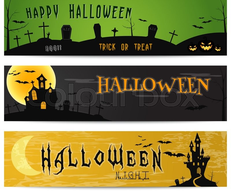 Three halloween landscape banners green dark and orange designs stock vector of three halloween landscape banners green dark and orange designs stopboris Images