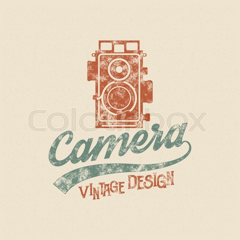 Retro Poster Or Logo Template With Old Camera Icon Isolated On Grunge Halftone Background Photography Vintage Design For T Shirt Tee Web Project