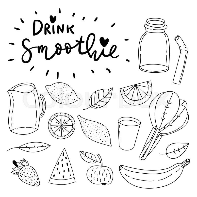 Set Of Hand Drawn Simple Line Vector Doodle Icons Drink