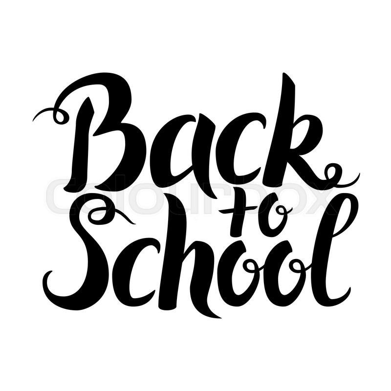 Black Back To School Lettering Over White Vector