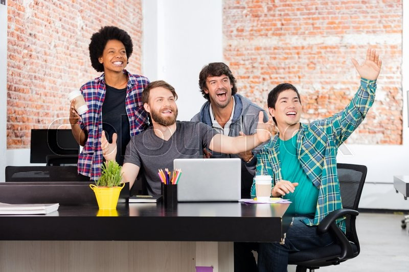 Excited people office diverse mix race group businesspeople surprised happy smile laptop computer casual wear, stock photo