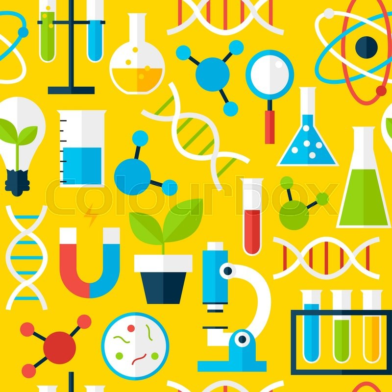 Science Laboratory Background Design: Yellow Seamless Pattern Science ...