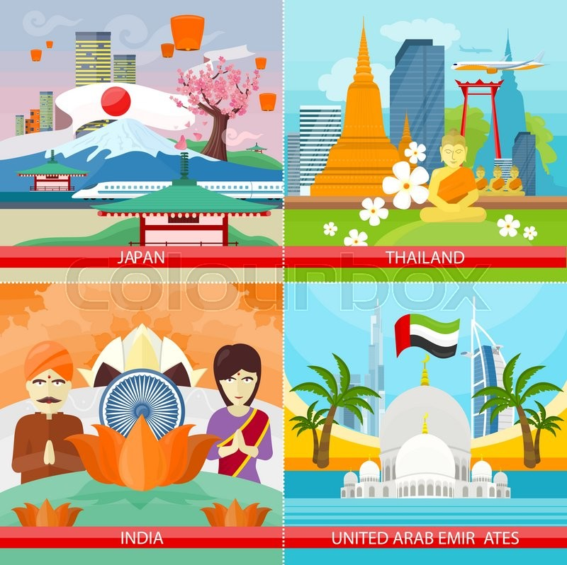 Set of traveling concepts. Flat design. Collection of Japan, Thailand, India, United Arab Emirates posters. Countries attraction and architecture illustrations. Summer vacation in Asia, vector