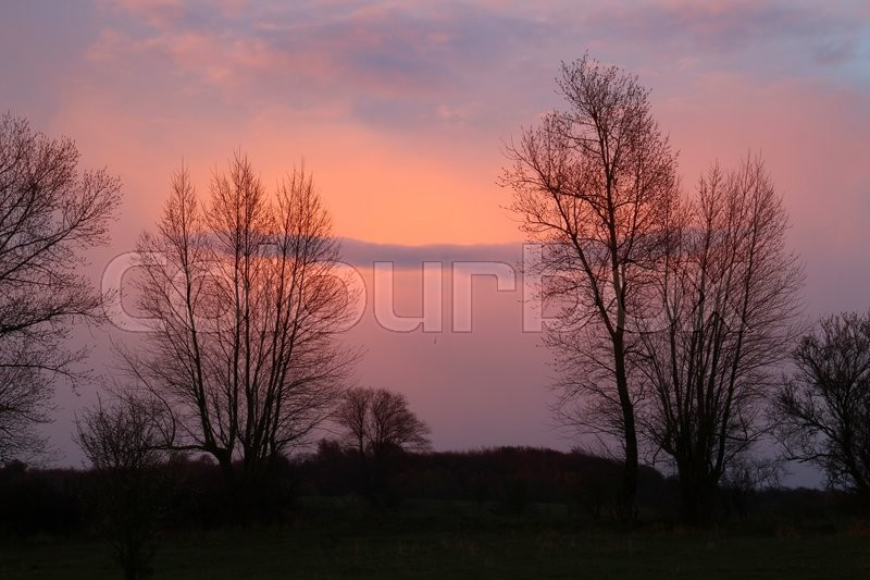 Stock foto af 'The sunset colors the clouds reddish'