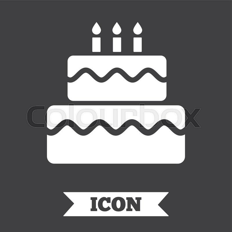 Birthday Cake Sign Icon Cake With Burning Candles Symbol Graphic