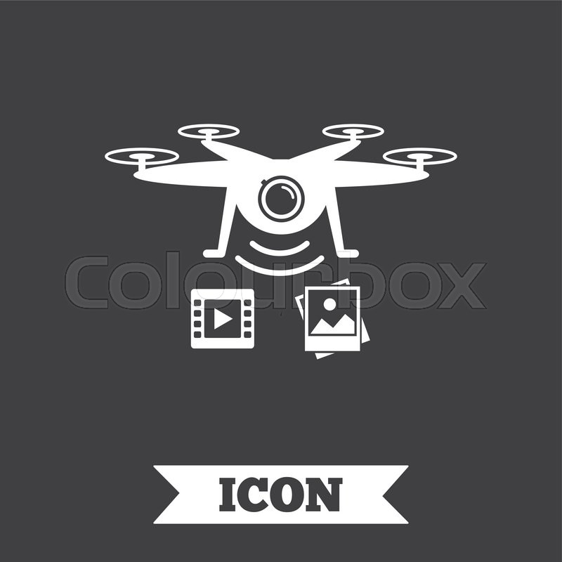 Drone Icon Quadrocopter With Video And Photo Camera Symbol Graphic Design Element Flat On Dark Background Vector