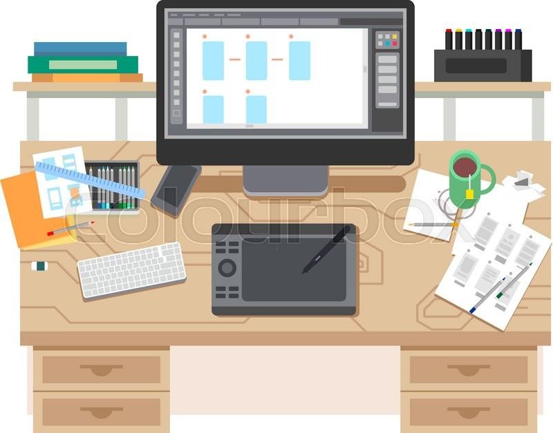 ui and ux app design workspace room and desk office designer