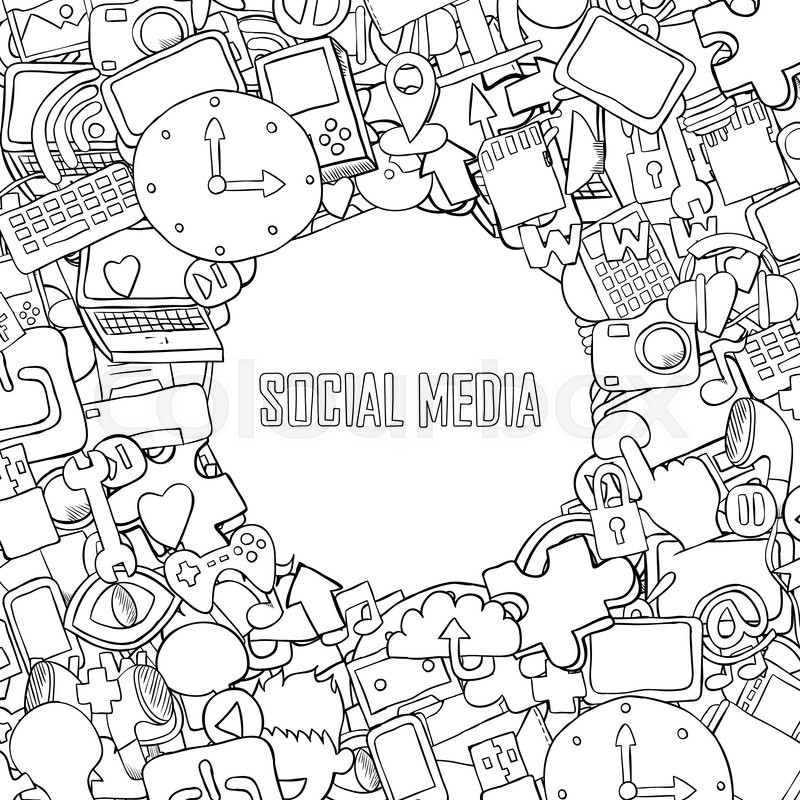 Social Media Background With Icons Technology Hand Lettering And Doodles Elements Drawing By Vector