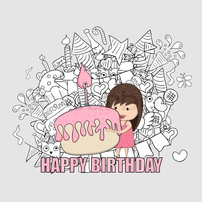 Girl With Birthday Cupcake Background Happy Doodles Drawing By Hand Vector
