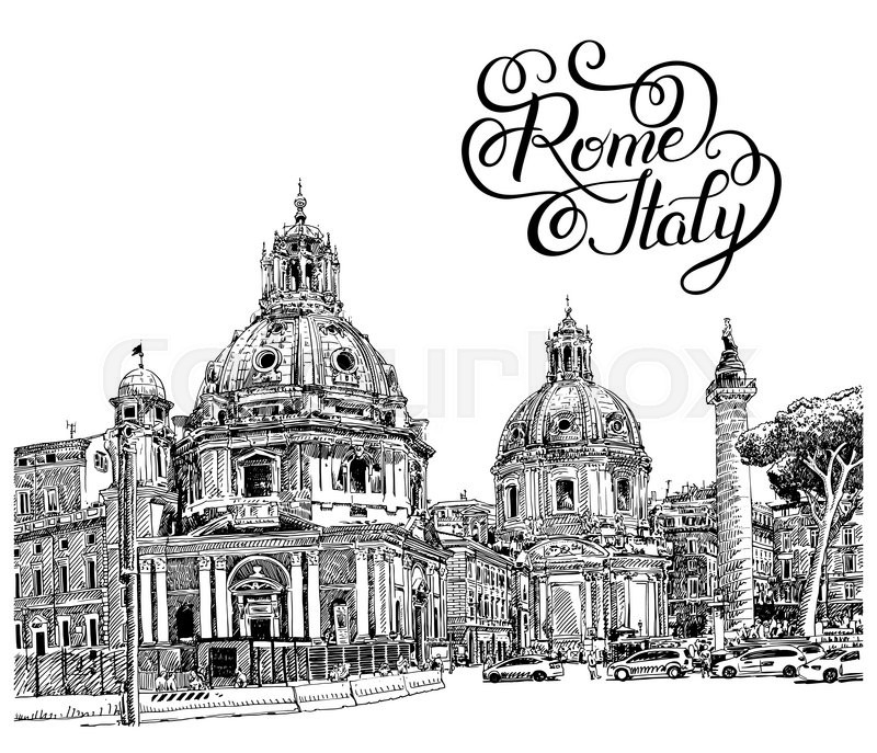 Original black and white digital drawing of rome italy cityscape with hand lettering inscription for your travel card design basilica sketch