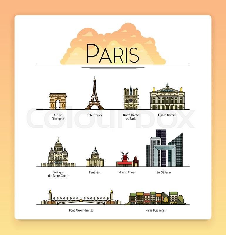 Vector Line Art Paris France Travel Landmarks And Architecture
