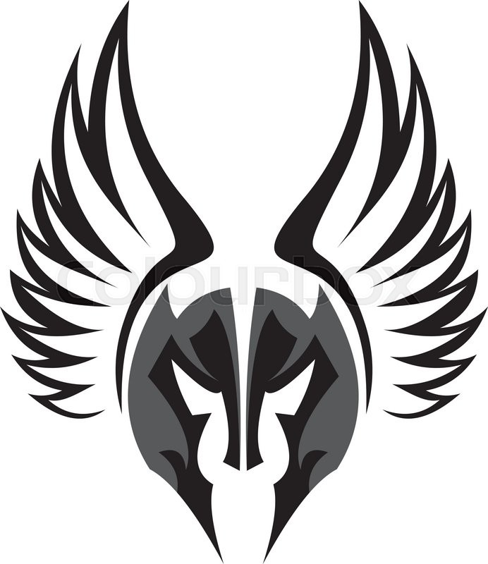 stock logo the mask of spartan knight with wing stock vector rh colourbox com wings vector free wind vector lidar