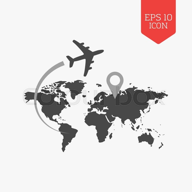 Airplane flying over world map travel with destination concept airplane flying over world map travel with destination concept flat design gray color symbol modern ui web navigation sign gumiabroncs Choice Image